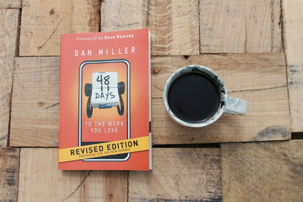 my copy of Dan Millers books, 48 days to the job you love, with a cup of coffee.