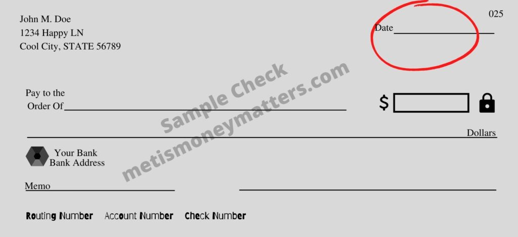 sample check with date field circled