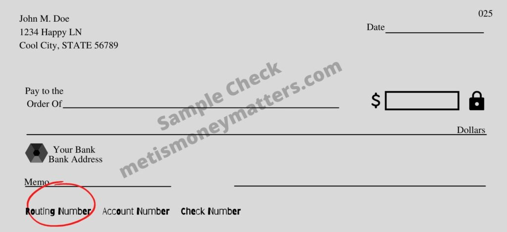 sample check with routing number circled