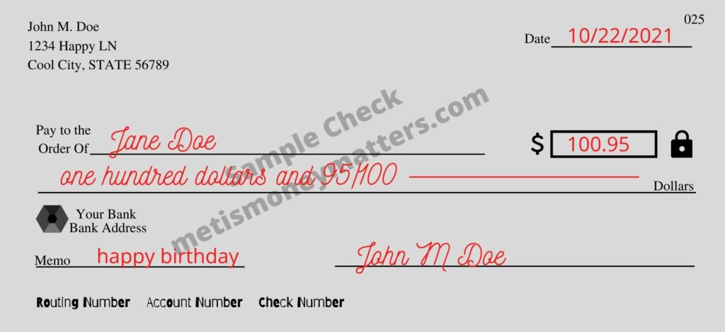 how to write a check example