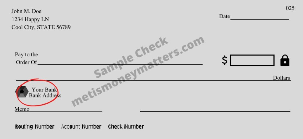 Sample check with your bank logo circled