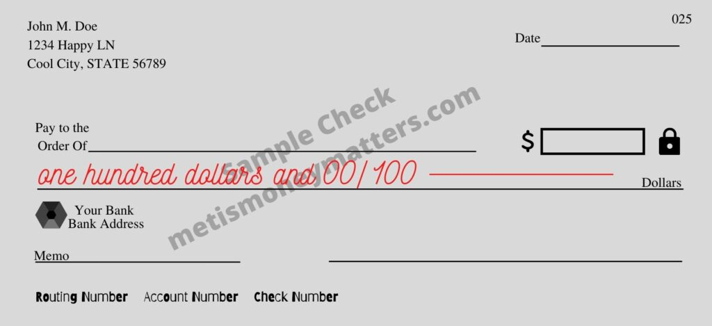 sample check with written amount field written in dollars with fraction for cents